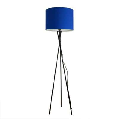 Camden Tripod Floor Lamp, Gloss Black & Blue Rolla Shade
