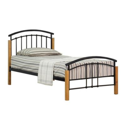 Comfy Living 3ft Single Metal and Wood Headboard Detail Bed Frame in Black with Damask Orthopaedic Mattress