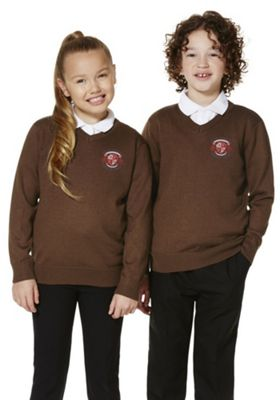 Unisex Embroidered Wool Blend V-Neck School Jumper 10-11 years Brown