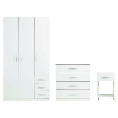 Ashton Triple Wardrobe Set, White