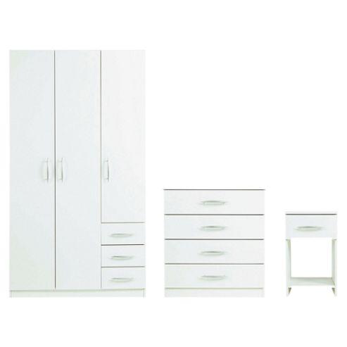 Ashton Triple Wardrobe Set, White