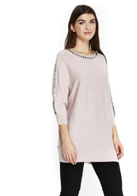 Wallis Embellished Trim Batwing Knitted Tunic M Pale pink