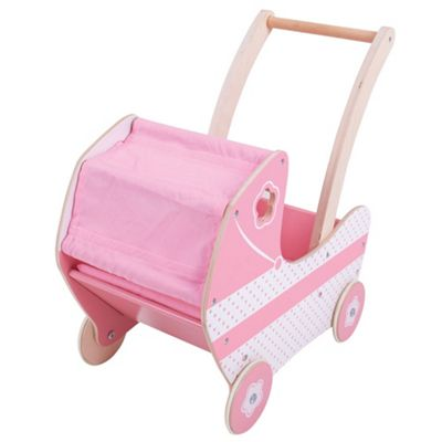 Bigjigs Toys Wooden Doll's Pram Buggy Stroller - Pretend Play