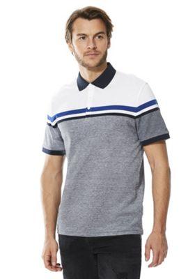 F&F Colour Block Polo Shirt Blue L