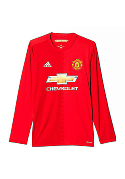 adidas Manchester United 2016/17 Mens Long Sleeve Home Football Shirt Red - Red