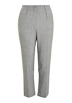 F&F Melange Ankle Grazer Mid Rise Slim Leg Trousers - Grey