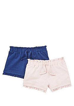 F&F 2 Pack of Ruffle Trim Shorts - Pink/Blue