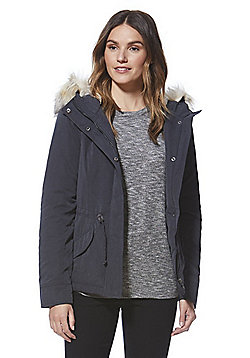 Only Faux Fur Trim Short Parka - Grey