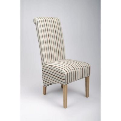 Pair of Krista Stripe Dining Chairs - Duck Egg Blue