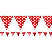 Red Polka Dot Bunting - Plastic 3.6m
