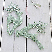 Green Sparkly Reindeer Christmas Decorations