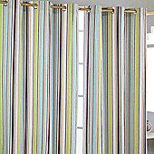 Homescapes Osaka Green Stripes Ready Made Eyelet Curtain Pair, 117 x 137 cm Drop