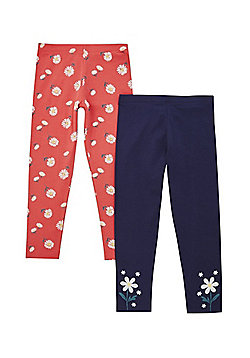 F&F 2 Pack of Flower Leggings - Multi
