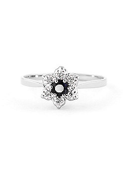 QP Jewellers Sapphire & SI-2 Diamond Ontario Wildflower Ring in 14K White Gold