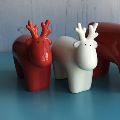 Set of Two Red & White Reindeer - Small