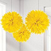 Yellow Pom Pom Decorations - 40cm