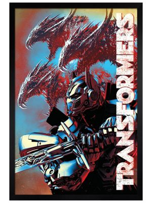 Transformers Black Wooden Framed The Last Knight Dragons Poster 61x91.5cm