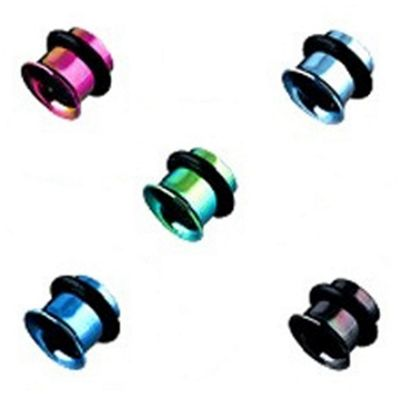 Urban Male Pack of Five Titanium Plated Ear Stretching Flesh Tunnels Single Flared 3mm