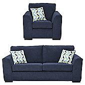 Boston Armchair + 3 Seater Sofa Set, Navy