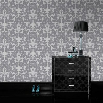 Laurence Llewelyn-Bowen Paradise Damask Grey/White Metallic Wallpaper 50-880