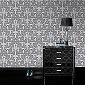 Laurence Llewelyn-Bowen Paradise Damask Grey/White Metallic Wallpaper 50-880