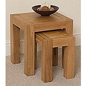 Kuba Chunky Solid Oak Nest of 3 Tables