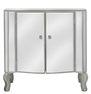 Mirror 2 Door Side Cabinet With Champagne Trim And NEW Crystal Handles