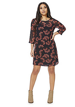 Vero Moda Floral Print Chiffon Dress - Black & Red