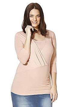 Mamalicious Tencel®-Rich Wrap Front Jersey Nursing Top - Pink