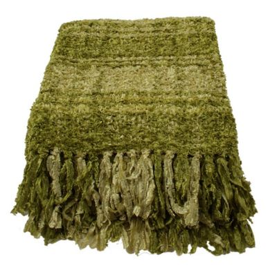 Pistachio Plaid Sparkle Weave Large Throw Blanket Sofa Bedroom Decor