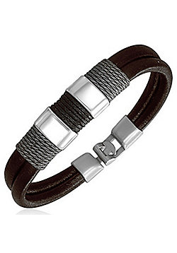 Urban Male 'Detroit' Dark Brown Leather Surf Bracelet for Men