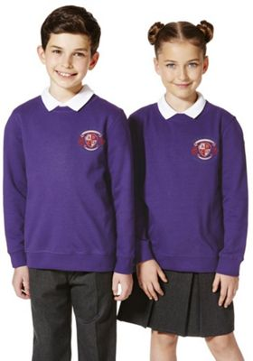 Unisex Embroidered Cotton Blend School Sweatshirt with As New Technology 10-11 years Purple