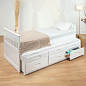 Happy Beds Captains White Wooden Guest Bed 2x Memory Foam Mattress 3ft Single