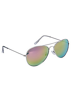 F&F Mirrored Aviator Sunglasses One size Silver