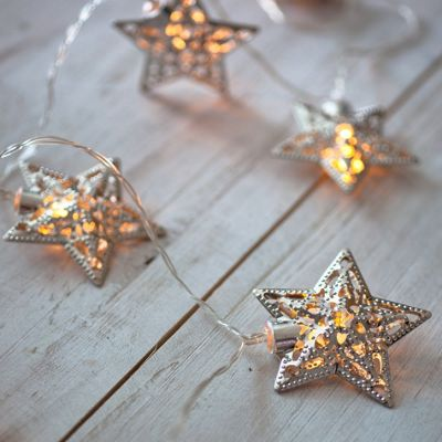 10 Silver Star Battery LED Fairy Lights