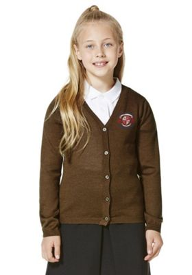 Unisex Embroidered Wool Blend Cardigan 8-9 years Brown