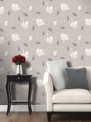 Synergy Floral Glitter Wallpaper Taupe Vymura M0782