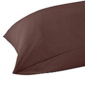 Homescapes Chocolate Brown Plain Housewife Pillow Case 100% Egyptian Cotton Pillow Cover 200 TC
