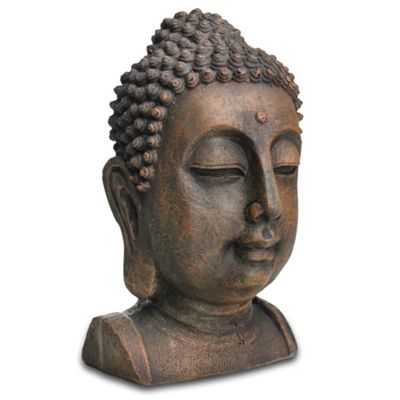 Decorative Buddha Head Ornament In Stone Look Resin