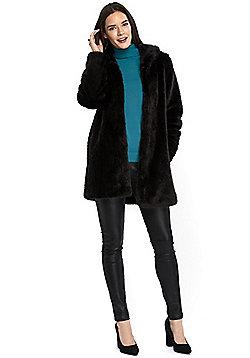 Wallis Plush Faux Fur Coat - Black