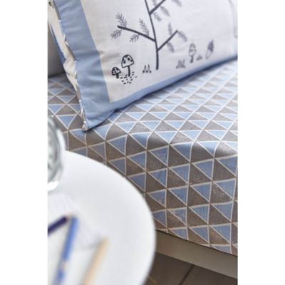 Bianca Cotton Soft Nordic Blue Print Fitted Sheet - Single