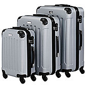 VonHaus 3pc Hard Shell ABS Trolley Suitcase Luggage Set with 4 Rotating Wheels, Combination Lock & Telescopic Handle – Silver