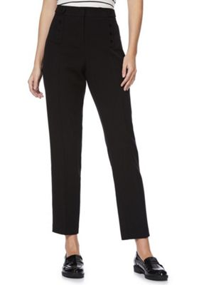 F&F Button Detail Ankle Grazer Slim Leg Trousers Black 6 Regular leg
