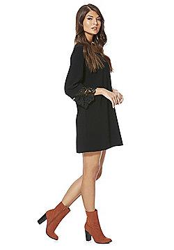 Vila Lace Cuff Crepe Dress - Black