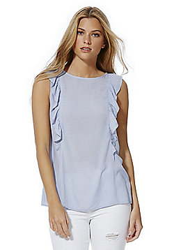 F&F Chambray Frill Detail Sleeveless Top - Light blue