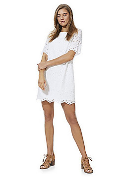 F&F Schiffli Lace Dress - White