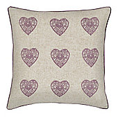 Catherine Lansfield Vintage Hearts Cushion Cover - 45x45cm
