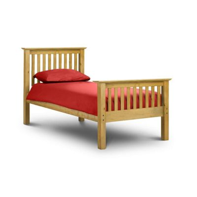 Happy Beds Barcelona Wood High Foot End Bed with Memory Foam Mattress - Antique Pine - 3ft Single