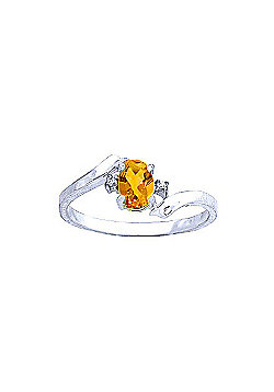 QP Jewellers Diamond & Citrine Embrace Ring in 14K White Gold
