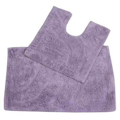 Homescapes Luxury Two Piece Bath Mat Set Lilac